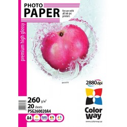 Photo paper CW premium high glossy 260g/m², A4, 20pc.  (PSG260020A4)
