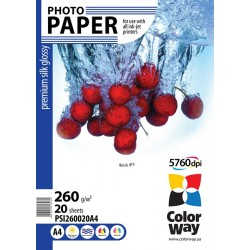 Photo paper CW premium silk glossy 260g/m², A4, 20pc.  (PSI260020A4)